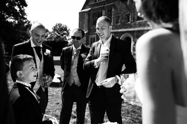 Magician doing trick at wedding