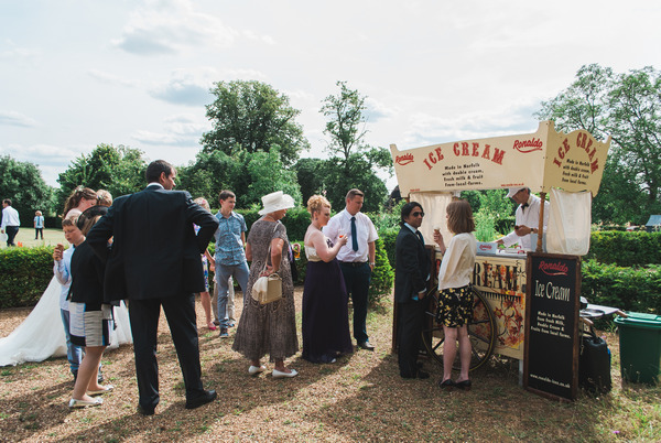 Ice cream stall at wedding at Narborough Hall Gardens