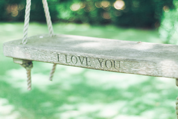 I love you engraved in swing at Narborough Hall Gardens