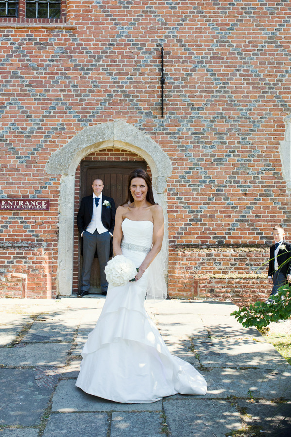 Bride and groom at Layer Marney Tower