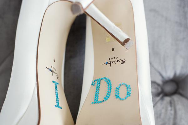 I Do written on sole of wedding shoe