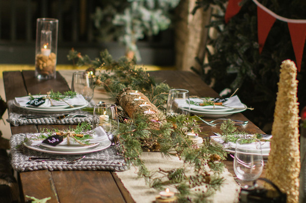Christmas wedding table centrepiece