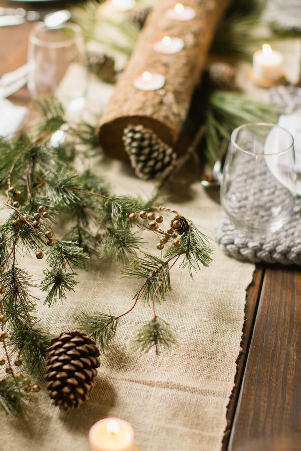 Pine need;es on wedding table