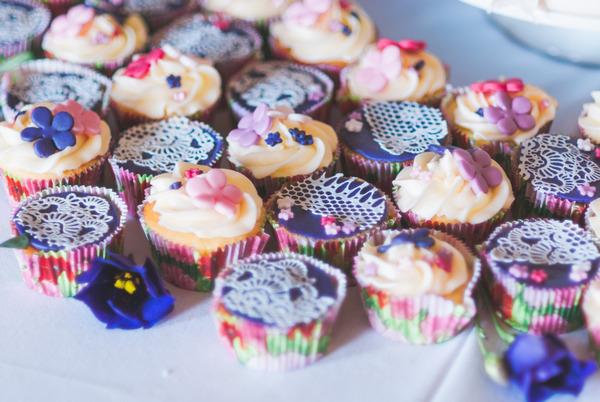 Colourful wedding cupcakes