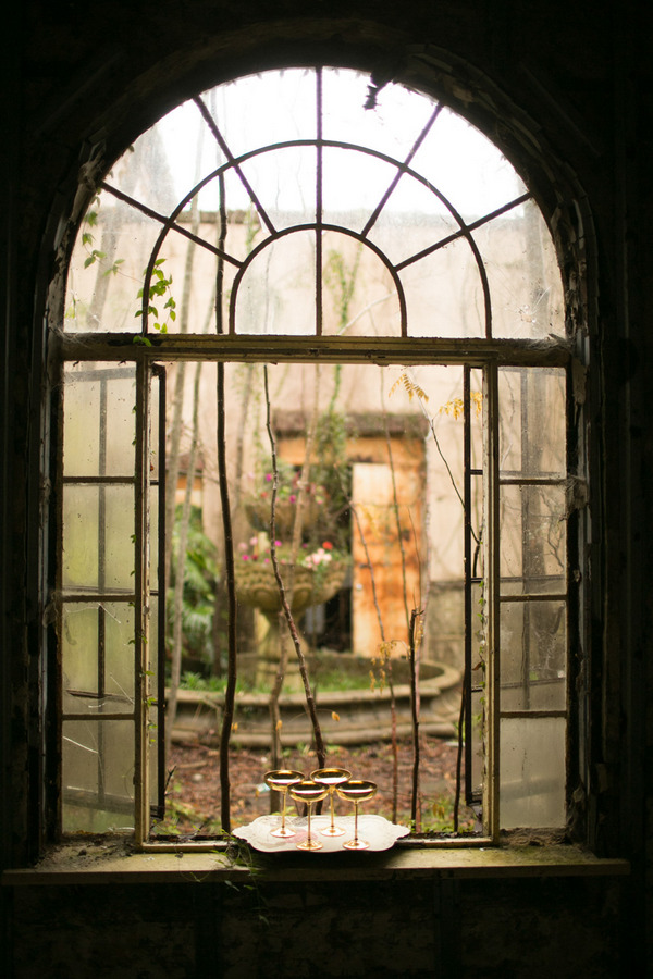 View through old window