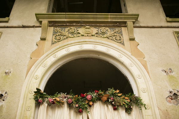 Floral decoration on arch