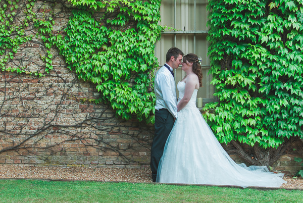Bride and groom at Narborough Hall Gardens