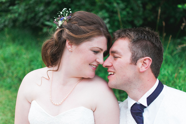 Bride and groom about to kiss