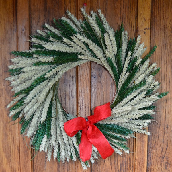Natural and Green Christmas Wreath from Shropshire Petals