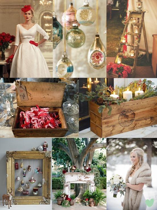 Vintage Christmas Wedding Ideas Mood Board