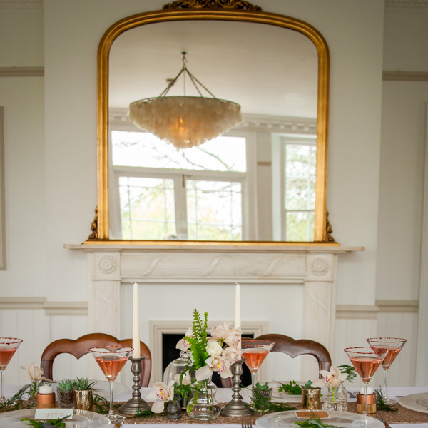 Copper styled wedding table
