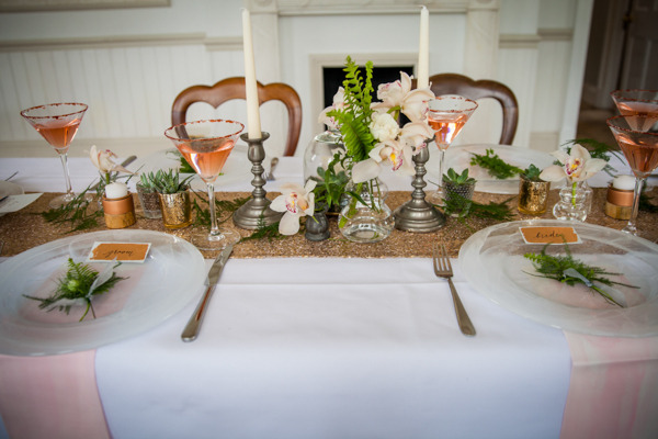 Wedding table with copper sequin table runner and blush details