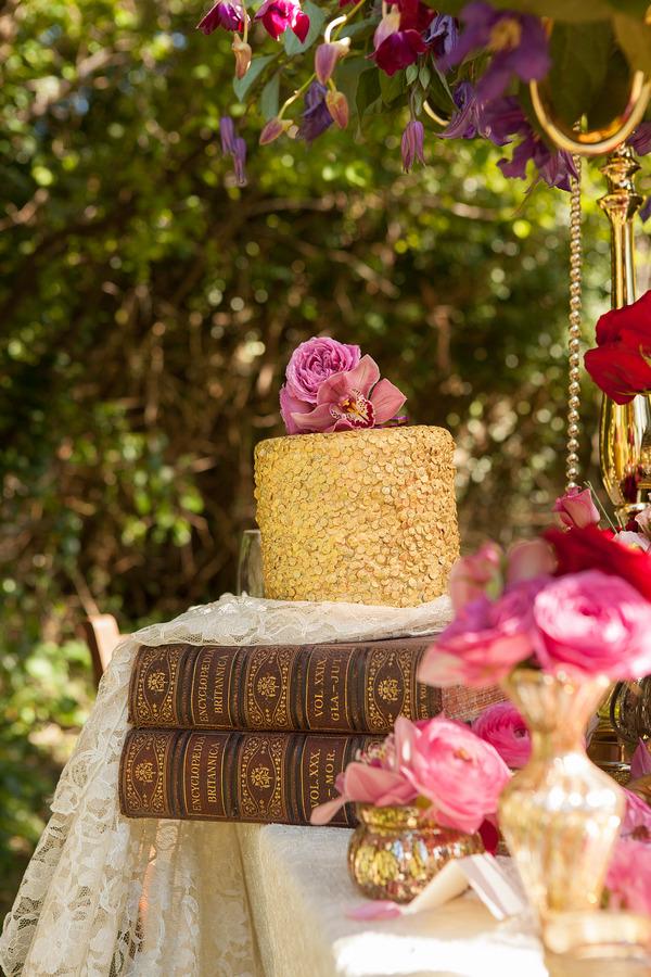 Wedding cake on books