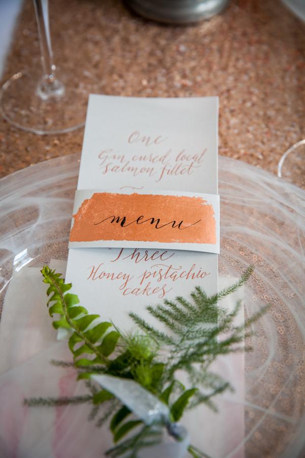 Wedding menu with foliage