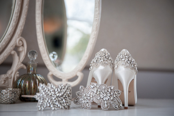 Wedding shoes with sparkle detail on heel