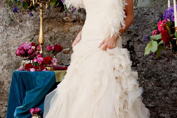 Detail on skirt of bride's dress