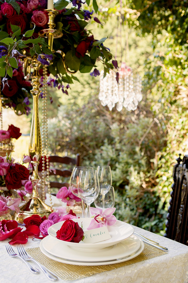 Contemporary, romantic styled wedding table