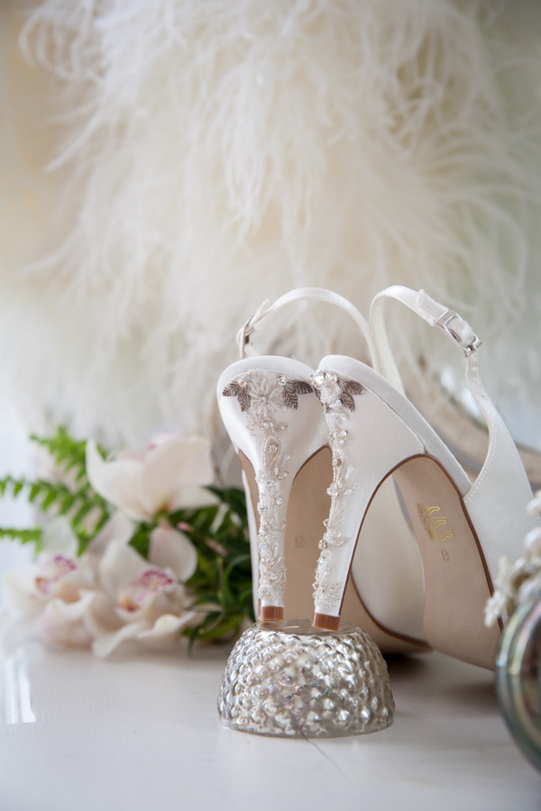 Detail on heel of wedding shoes