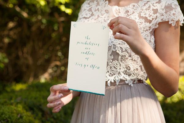 Bride holding wedding sign at Tros Yr Afon
