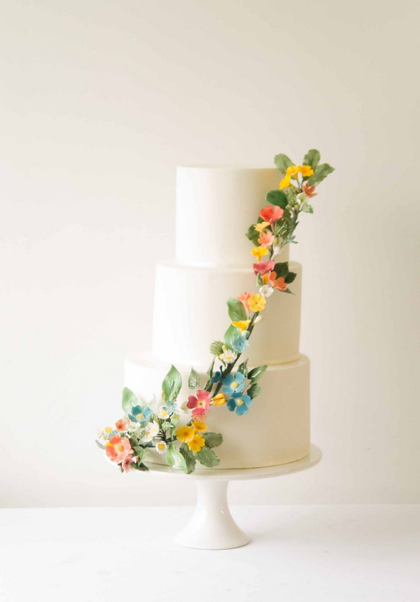 Fleurie wedding cake 2016 with colourful sugar flowers by The Abigail Bloom Cake Company