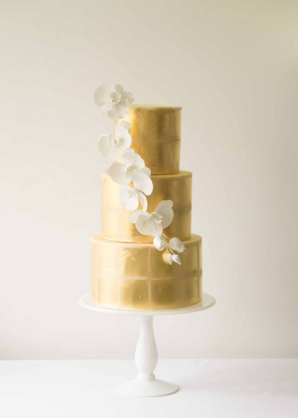 Ophelia gold wedding cake 2016 by The Abigail Bloom Cake Company
