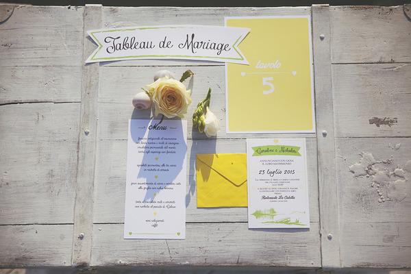 Yellow spring wedding stationery