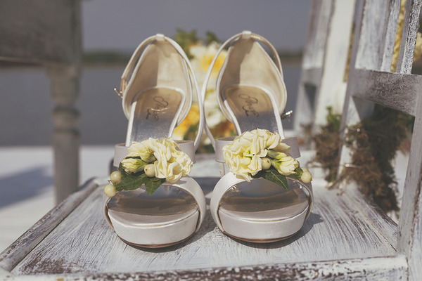 Wedding shoes with yellow flowers