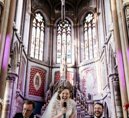 Bride laughing during her speech - Picture by Steve Grogan Photography