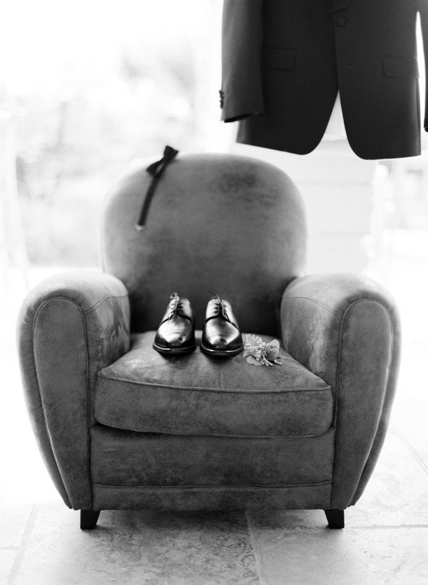 Groom's shoes on chair