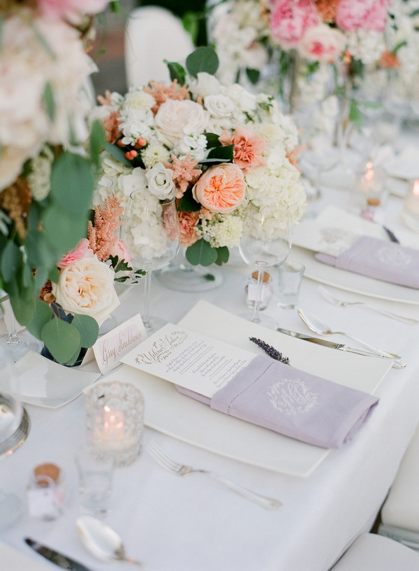 Lavender napkin at wedding place setting
