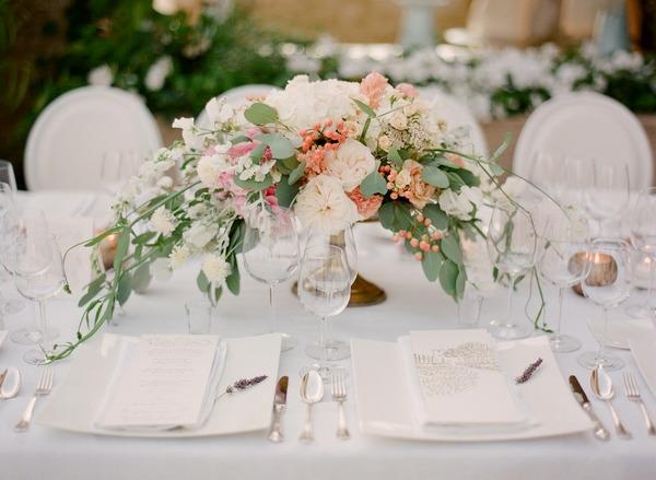 Pastel floral wedding table display