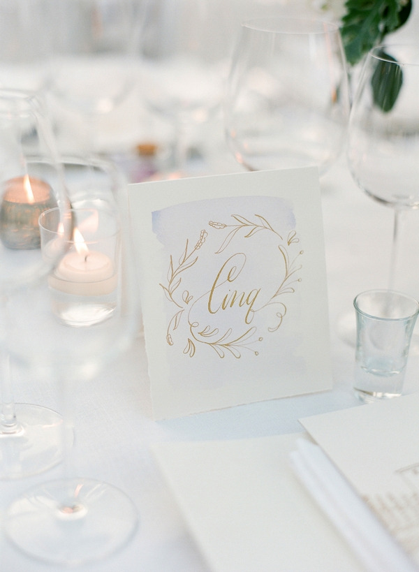 Wedding place name with copper lettering