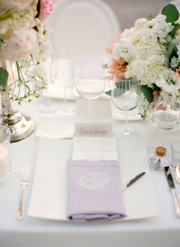 Wedding place setting with lavender details
