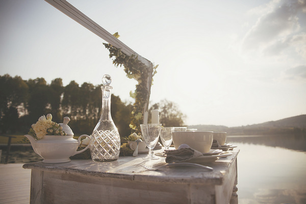 Rustic spring dressed wedding table