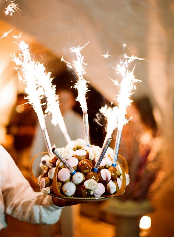 Wedding dessert with sparklers