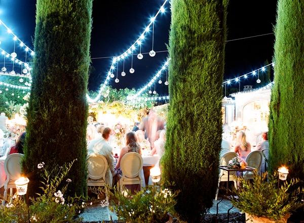Wedding evening reception at Domaine De Capelongue, Provence