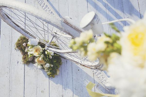 White bicycle wedding prop