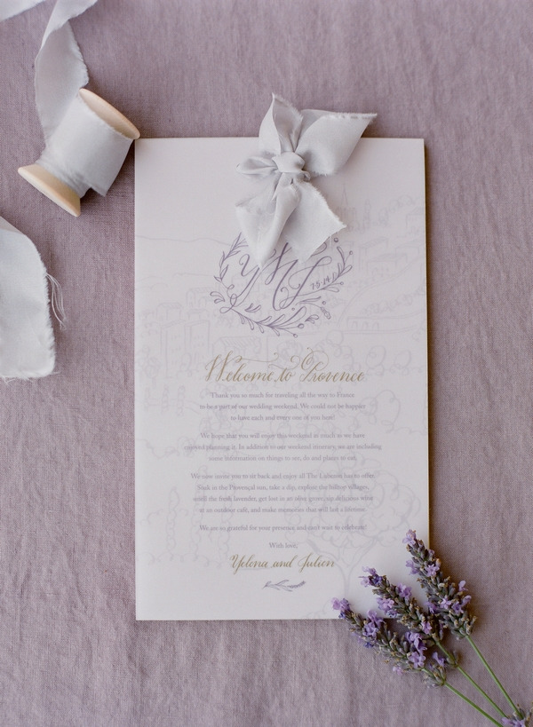 Wedding invitation with lavender