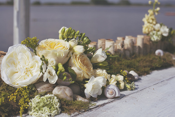 Spring wedding flowers with shells