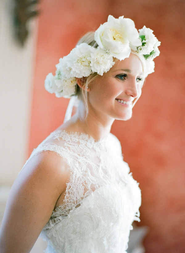 Bride with lace dress and flower crown