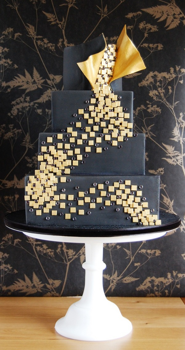 Black and Gold Dance Cake - Tiers of Happiness