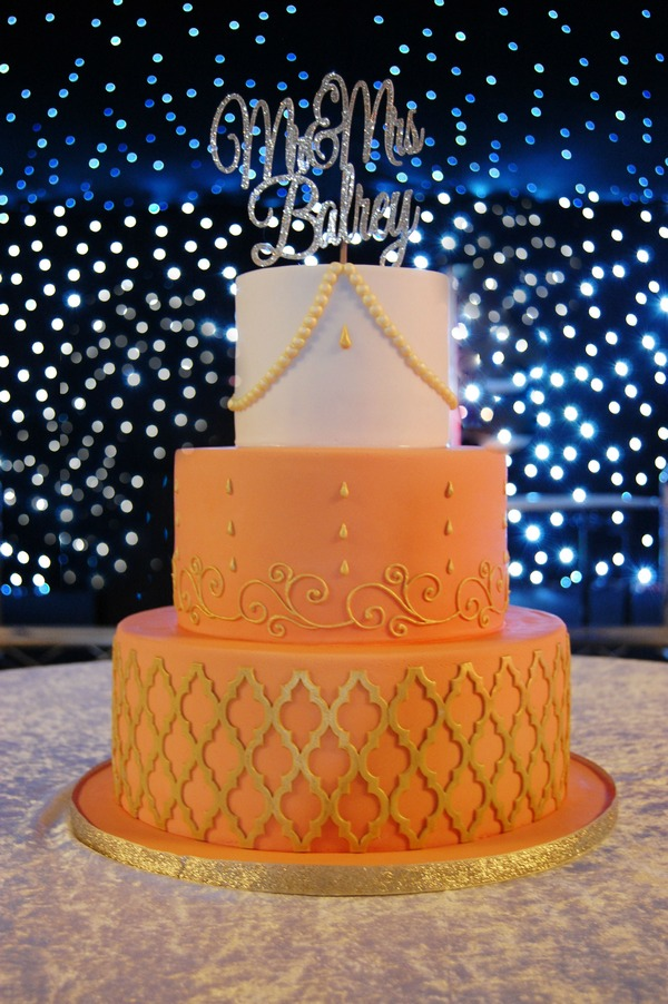 Burnt Orange and Gold Moroccan Cake - Tiers of Happiness