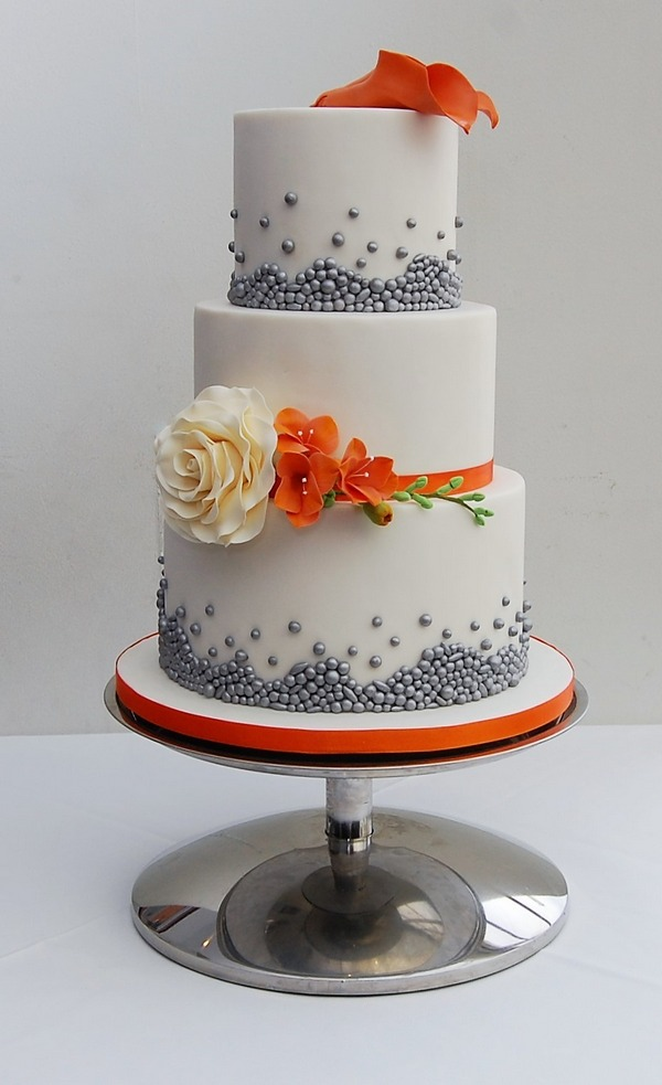 Burnt Orange and Silver Bead Cake - Tiers of Happiness
