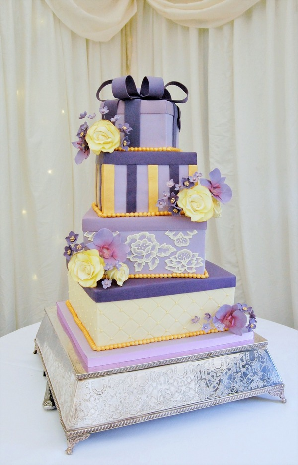 Gift Boxes Purple, Cream and Gold Cake - Tiers of Happiness
