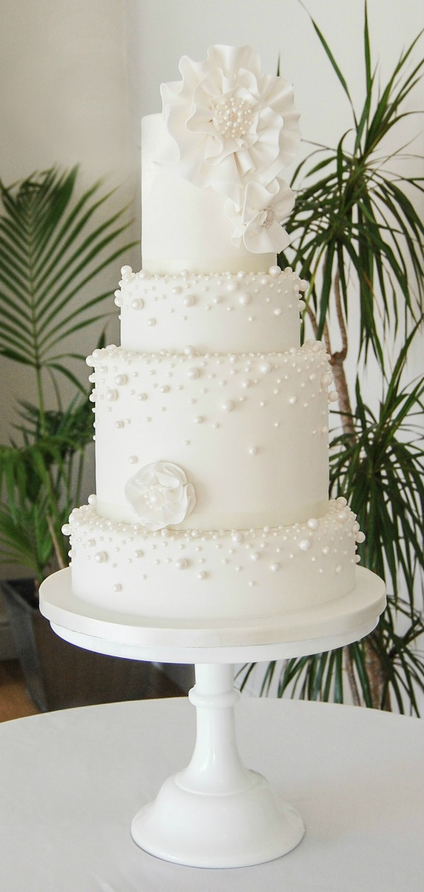 White Pearl Cake - Tiers of Happiness