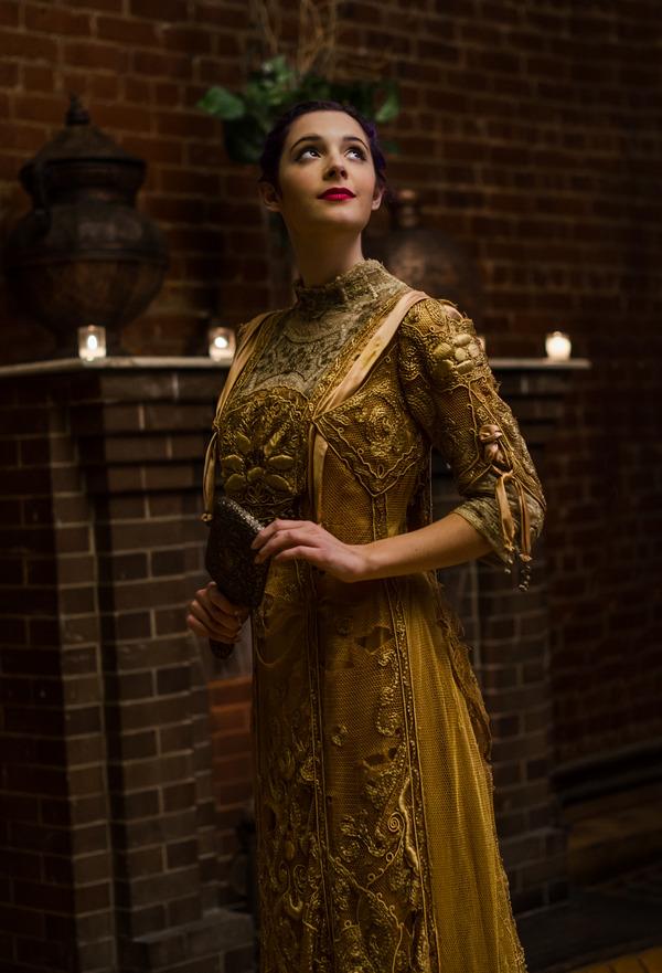 Bride in gold vintage wedding dress