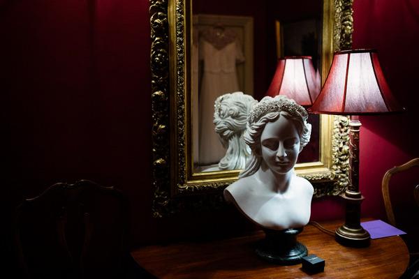 Bride's headband on statue