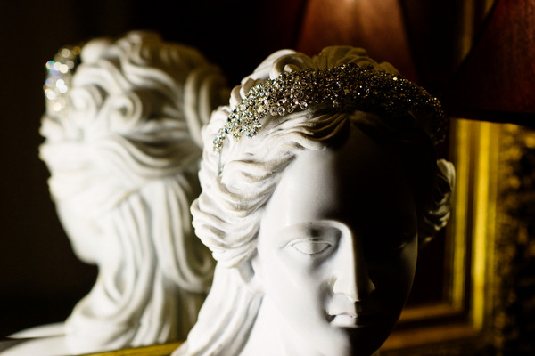 Bride's headband on statue