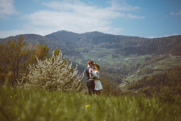 Bride and groom in Slovenian countryside
