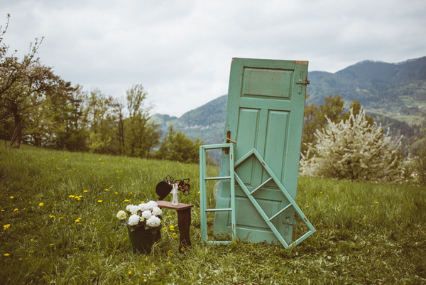 Rustic doors as wedding photo booth props